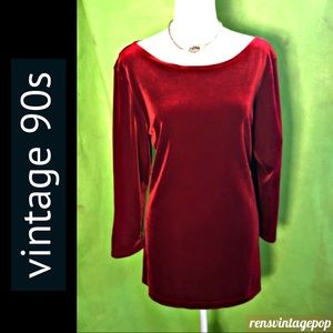 90s Lush Stretch Velvet MiniDress or Tunic in Red